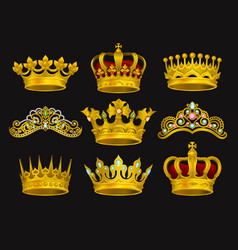 realistic set of golden crowns and tiaras vector image