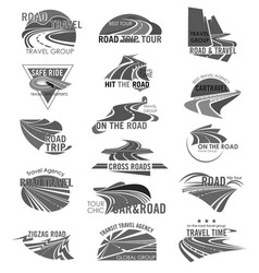 Road travel company or agency icons set vector
