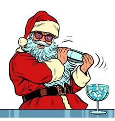 santa claus makes cocktail merry christmas vector image
