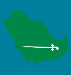 Saudi arabia map with flag vector