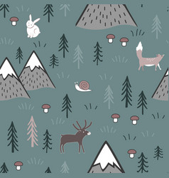 scandinavian cartoon seamless pattern with animals vector image