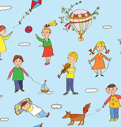 Seamless pattern with kids playing vector image