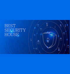 security digital background with shield and other vector image