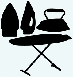 Set iron and ironing board vector