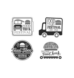 set of 4 creative emblems for food truck vector image