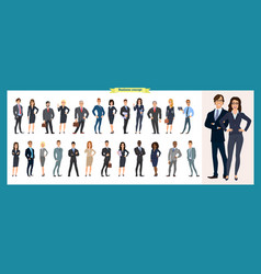 Set of business characters working in office vector