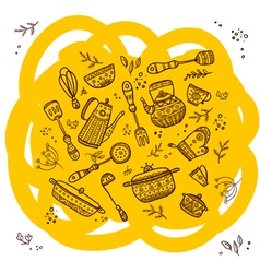 Set of kitchen items vector image