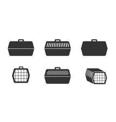 set pet cage icons in silhouette style vector image