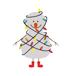 Silhouette of snowman with red boots and tangled vector