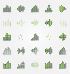 Soundwave colorful icons set vector