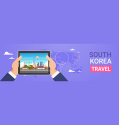 south korea travel landmarks hands holding digital vector image