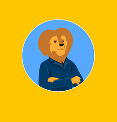 Successful businessman allegory lion character vector
