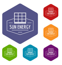 Sun energy icons hexahedron vector