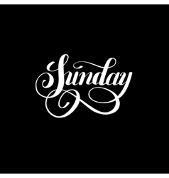 Sunday day of the week handwritten white ink vector
