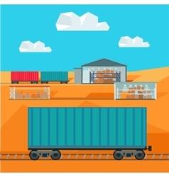Train Worldwide Warehouse Delivering Logistics vector image