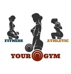 Training fitness woman emblem set vector