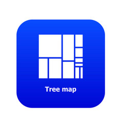 Tree map icon blue vector