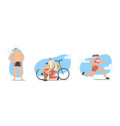 Triathlon competition concept triathletes male vector
