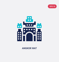 Two color angkor wat icon from architecture vector