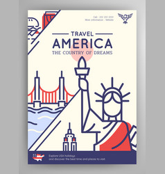 united states america travel poster vector image