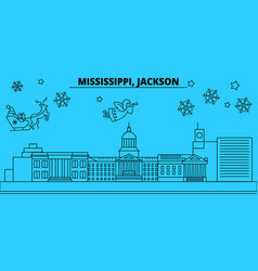 united states jackson winter holidays skyline vector image