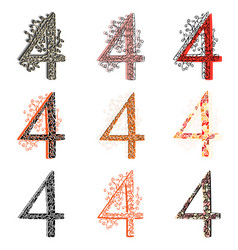 Various combination numeric figures 4 vector