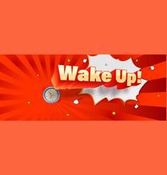 Wake up comic volumetric text on retro pop-art vector