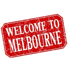 Welcome to Melbourne red square grunge stamp vector