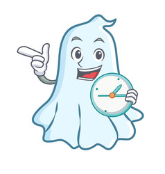 with clock cute ghost character cartoon vector image