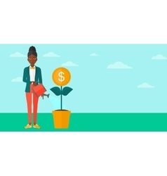 Woman watering money flower vector