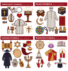 world religions symbols christianity and islam vector image