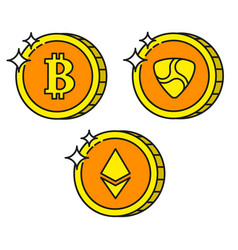 cryptocurrency black outline gold icons ethereum vector image vector image
