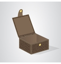 Leather brown gift box with a lid on the button vector image vector image