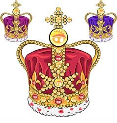 Set gold crown vector