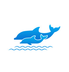 two dolphins vector image vector image