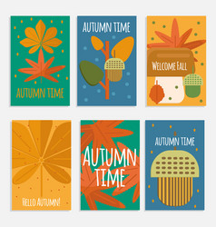 autumn foliage cards in flat style vector image