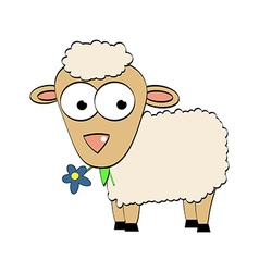 Cartoon Character Cute Sheep Symbol of 2015 Year vector image