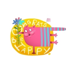 Cat congratulation with bunch of flowers holiday vector
