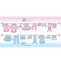 Clothing baby boy and baby girl vector image vector image