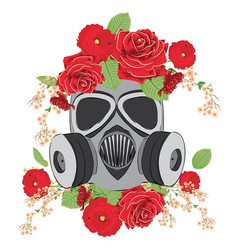 gas mask with roses vector image vector image