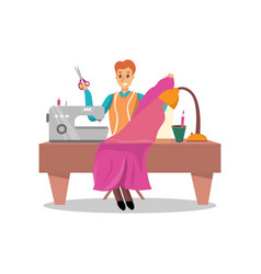 male dressmaker sewing pink dress by sewing vector image