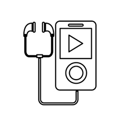 music player with earphones icon vector image