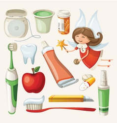 Set of items for keeping your teeth healthy vector image vector image