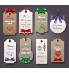 Set of vintage tags with silk bows vector image