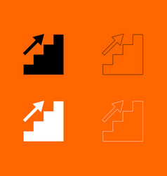 stairs growth black and white set icon vector image