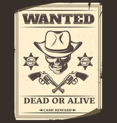 vintage monochrome wild west wanted poster vector image