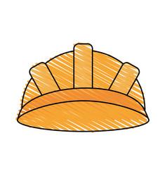 color crayon stripe cartoon helmet for protection vector image