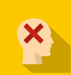 man head silhouette with red cross inside icon vector image