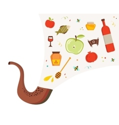 shofar horn with set of icons over textured vector image vector image