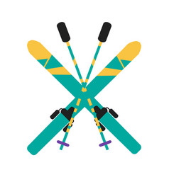 skiing equipment pole set vector image